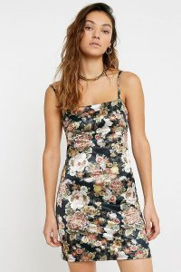 UO Floral Sateen Mini Dress in Black Multi