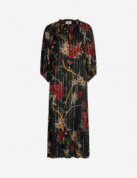BA&SH Patty floral-print woven midi dress in noir