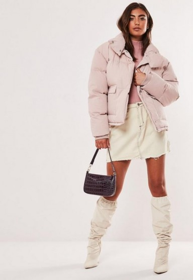 MISSGUIDED baby pink puffer jacket – padded winter jackets