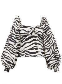 THE ATTICO Balloon-sleeve zebra-print crepe de Chine top in black and white