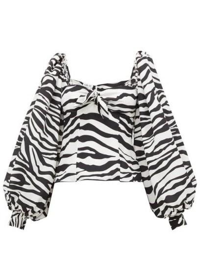 THE ATTICO Balloon-sleeve zebra-print crepe de Chine top in black and white - flipped