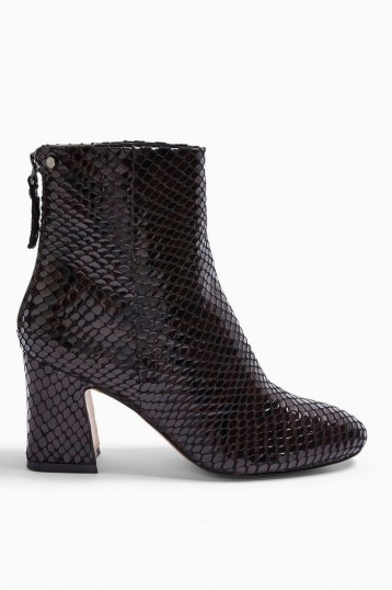 Topshop BELIZE Burgundy Smart Boots | textured block heel boot