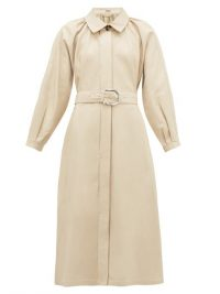 DODO BAR OR Berry collared leather dress in beige