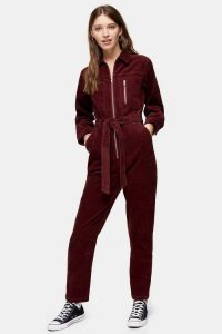 TOPSHOP Berry Corduroy Boiler Suit – red cord boilersuit