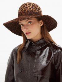LOLA HATS Biba leopard-print felt hat ~ wide brim hats