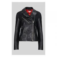 WHISTLES Adriana Leather Croc Biker in Black