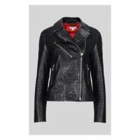 WHISTLES Adriana Leather Croc Biker in Black