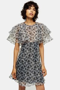 Topshop Black And White Organza Floral Mini Dress – floaty and feminine dresses