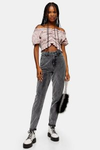 Topshop Black Antique Corduroy Mom Jeans – cord trousers