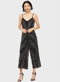 MISS SELFRIDGE Black Beaded Culotte Jumpsuit – strappy crop leg jumpsuits