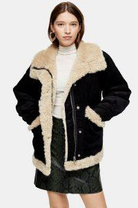 Topshop Black Borg Jacket   warm chunky jackets