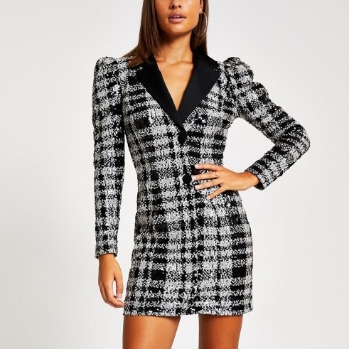 RIVER ISLAND Black check sequin long sleeve tux dress – evening glamour