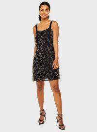 MISS SELFRIDGE Black Chevron Camisole Mini Dress – lbd – beaded party dresses
