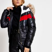 River Island Black colour blocked high shine padded jacket | stylish winter jackets