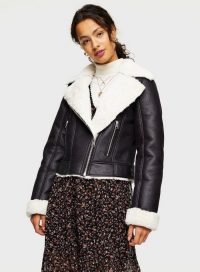 MISS SELFRIDGE Black Contrast Faux Fur Aviator Jacket – winter jackets with textured trim