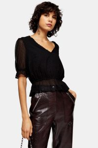 Topshop Black Cropped Spot Frill Blouse – waisted blouses
