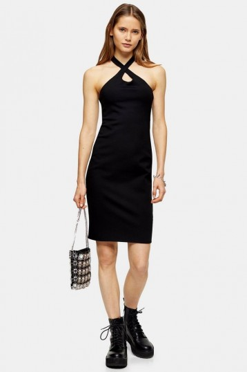 TOPSHOP Black Cross Halter Neck Bodycon Midi Dress – going out lbd