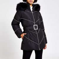 River Island Black diamante belted puffer coat | embellished winter coats