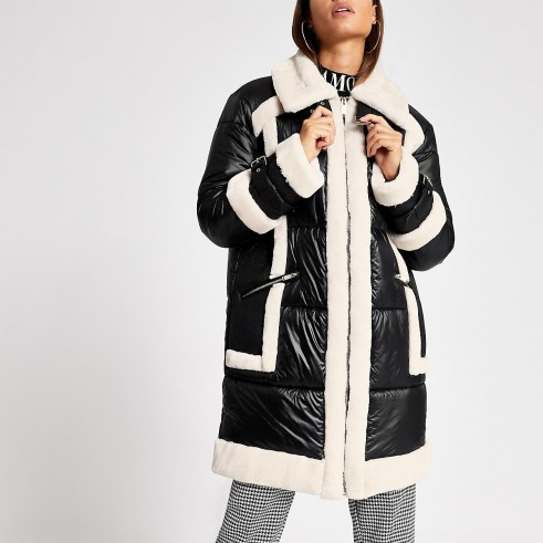 RIVER ISLAND Khaki faux leather belted jacket – monochrome longline winter jackets