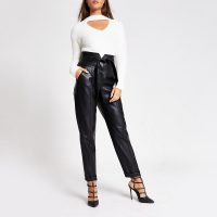 RIVER ISLAND Black faux leather corset waist peg trousers – glamorous evening pants