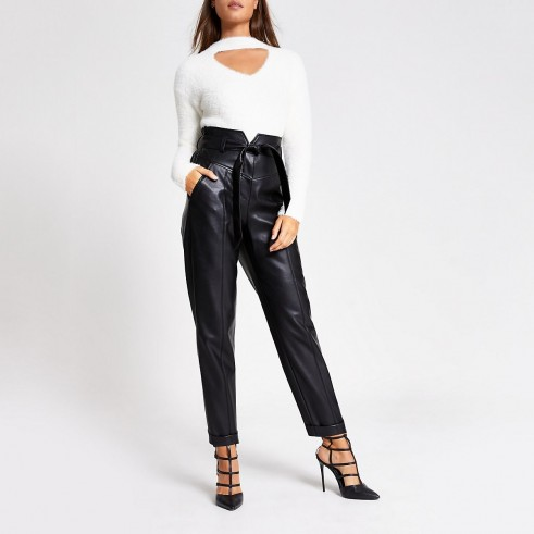 RIVER ISLAND Black faux leather corset waist peg trousers – glamorous evening pants