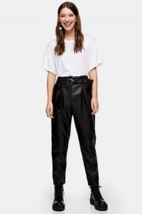 Topshop Black Faux Leather PU Belted Peg Trousers | tapered pants