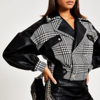 RIVER ISLAND Black houndstooth blocked biker jacket – monochrome dogtooth jackets