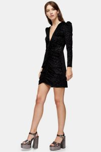 Topshop Black Jacquard Velvet Mini Dress – LBD