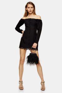 Topshop Black Lace Bardot Mini Dress | LBD | off the shoulder