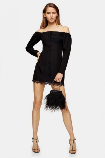 Topshop Black Lace Bardot Mini Dress | LBD | off the shoulder