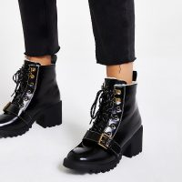 RIVER ISLAND Black lace-up borg trim hiker boots – chunky fur lined boot