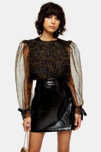 Topshop Black Leopard Organza Blouse With Bow Detail – balloon sleeve blouses