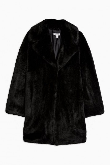 TOPSHOP Black Luxe Faux Fur Coat – vintage look glamour – glamorous winter coats