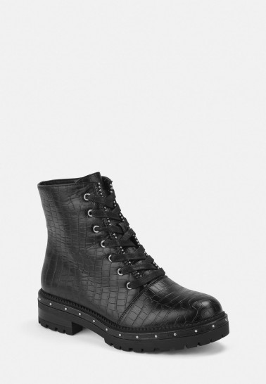 MISSGUIDED black mock croc ball stud biker boots – studded lace-up boot