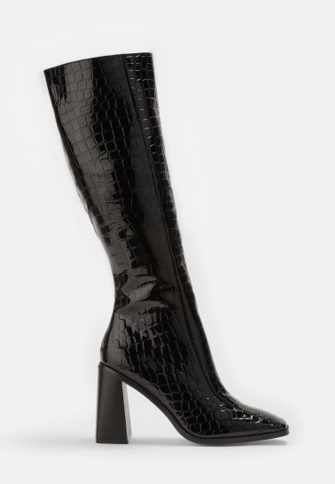 MISSGUIDED black mock croc patent knee high boots