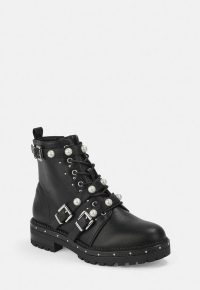 MISSGUIDED black mock pearl strap biker boots – embellished buckle boot