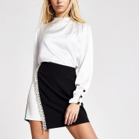 RIVER ISLAND Black monochrome diamante mini skirt – asymmetric evening skirts