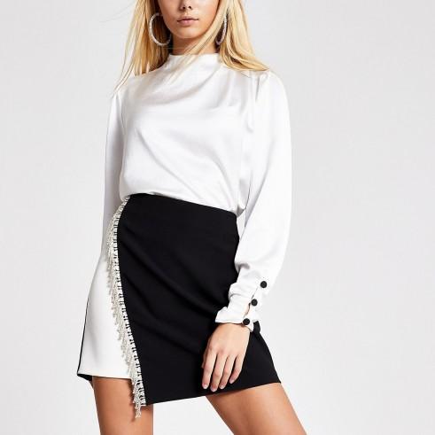 RIVER ISLAND Black monochrome diamante mini skirt – asymmetric evening skirts