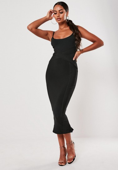 MISSGUIDED black ribbed x front bandage cami midaxi dress – evening bodycon