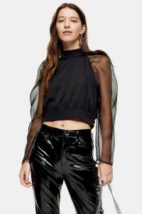 Topshop Black Sheer Organza High Neck Top – puffed sleeve blouse