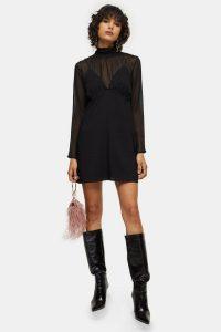 Topshop Black Shirred Neck Mini Dress – LBD