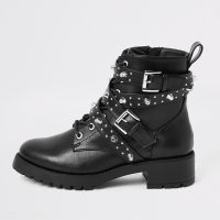 RIVER ISLAND Black studded buckle lace-up boots – chunky stud embellished ankle boot