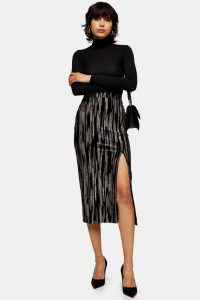 Topshop Black Velvet Glitter Midi Skirt | front slit pencil skirts