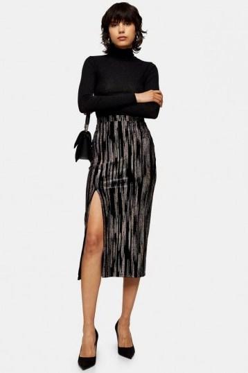 Topshop Black Velvet Glitter Midi Skirt | front slit pencil skirts - flipped