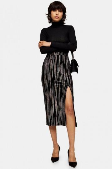 Topshop Black Velvet Glitter Midi Skirt | front slit pencil skirts