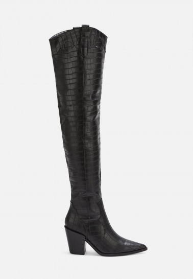 MISSGUIDED black western over the knee boots