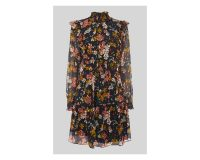 WHISTLES Floral Ruffle Silk Mix Dress ~ high neck ruffled dresses