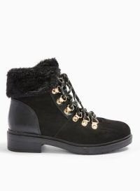 MISS SELFRIDGE BLISS Black Fax Fur Tongue Lace Up Ankle Boots – trimmed winter boot