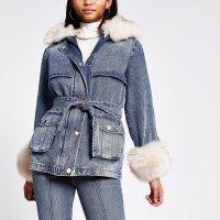River Island Blue faux fur collar padded denim jacket