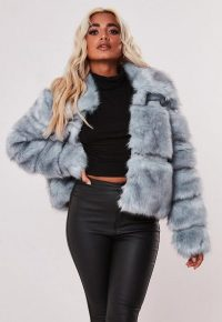 MISSGUIDED blue pelted short faux fur coat – fluffy luxe style winter coats